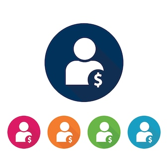 Profilo con icona del segno di dollaro.