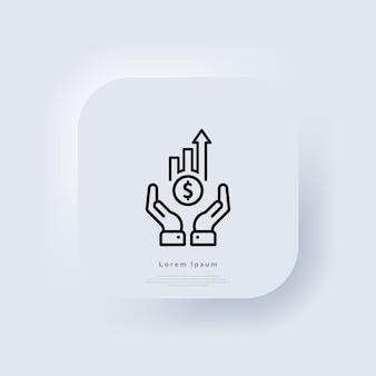 Profilo dell'icona di analisi del profitto. guadagnare in crescita. icona di crescita finanziaria. finanza e mano della barra del grafico. pulsante web bianco dell'interfaccia utente ui ux neumorphic. neumorfismo. vettore eps 10.