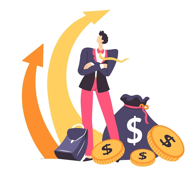 Profitto e benefici sul lavoro, stabilità finanziaria e crescita del business. capo guardando frecce in crescita, reddito di società o organizzazione. maschio con pile di soldi e valigetta, vettore in appartamento