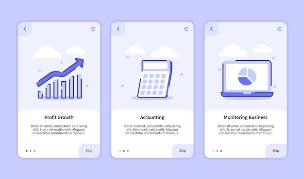 Attività di monitoraggio della contabilità della crescita dei profitti per l'interfaccia utente della pagina banner del modello di app mobili