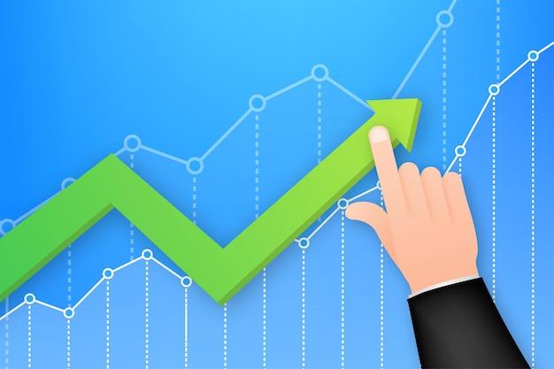 Profitto denaro o budget. contanti e freccia in aumento del grafico verso l'alto, concetto di successo aziendale. guadagno di capitale, beneficio. illustrazione di riserva di vettore.