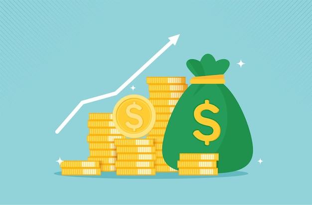 Profitto denaro concetto di crescita finanziaria con moneta d'oro concetto di raccolta monetaria o strategia