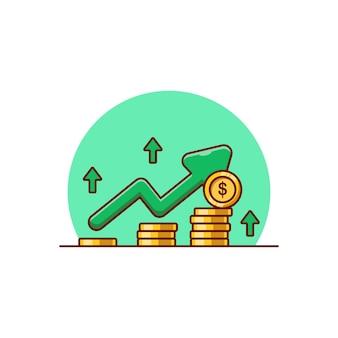 Disegno di illustrazione vettoriale di profitto con monete d'oro