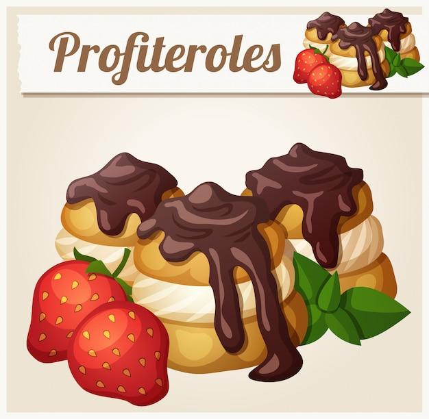 Profiteroles al cioccolato e fragola