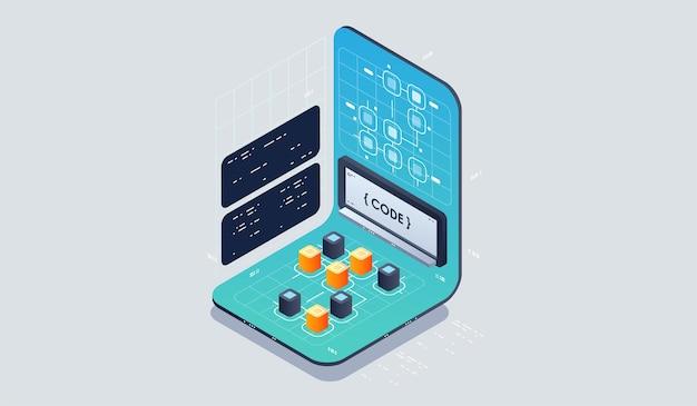 Sviluppo del programma e programmazione icona isometrica, elaborazione di big data del processo automatizzato di intelligenza artificiale. Vettore Premium