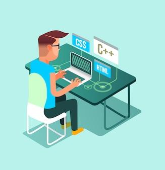 Programmatore libero professionista lavoratore uomo personaggio lavoro a casa al computer portatile pc. lavoro freelance