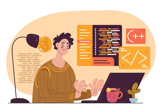 Codice di sviluppo del personaggio del programmatore freelance