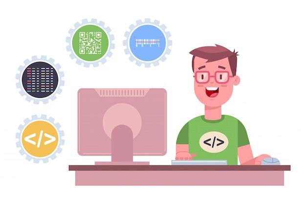 Il programmatore sta lavorando al software. fumetto illustrazione piatta di uno sviluppatore web freelance con computer isolato
