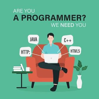Modello di posto vacante di lavoro del programmatore con uomo che lavora all'illustrazione del computer portatile