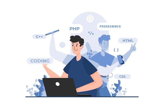 Programmatore con il concetto di illustrazione multitasking