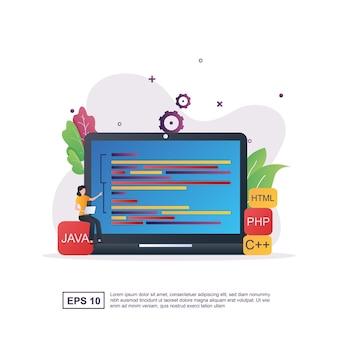 Programmatore con linguaggi di programmazione e le persone stanno codificando.