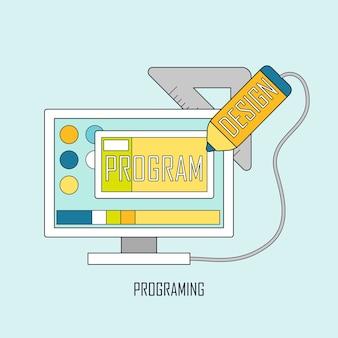 Flusso di lavoro del programmatore per la codifica web in stile linea sottile