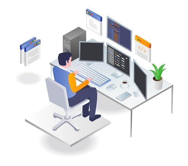 Programmatore che lavora su un computer con molti dati