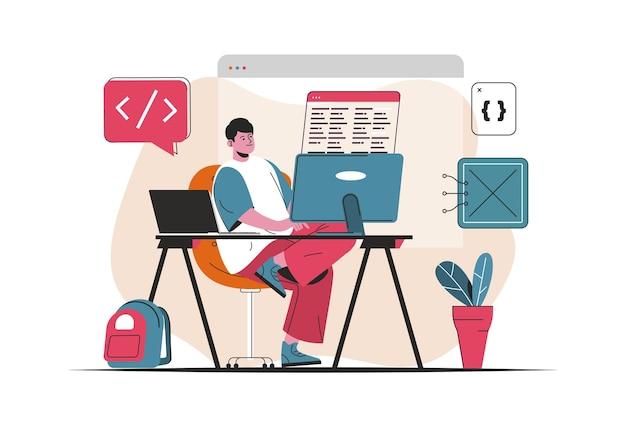 Concetto di lavoro del programmatore isolato. creazione e sviluppo di software, programmi. scena di persone nel design piatto del fumetto. illustrazione vettoriale per blog, sito web, app mobile, materiale promozionale.