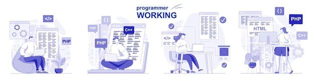 Programmatore che lavora insieme isolato in design piatto software di programmazione per test di codifica di persone