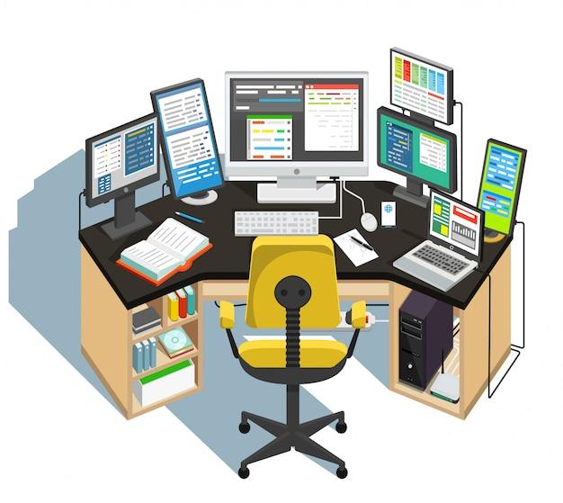 Luogo di lavoro del programmatore. illustrazione