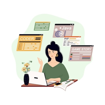 Il programmatore scrive software e crea il concetto di codice di codifica e programmazione di script in php python