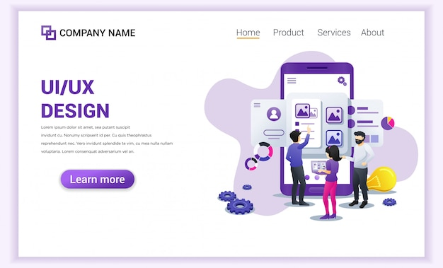 Pagina di destinazione del design ux ui dei programmatori.
