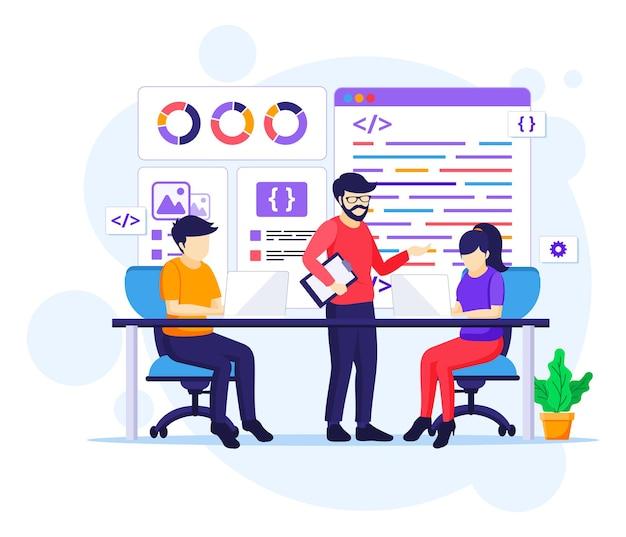 I programmatori al concetto di lavoro, le persone lavorano su un tavolo utilizzando laptop che programmano e codificano illustrazione piatta