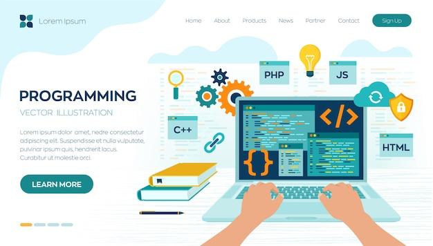 Banner di programmazione, codifica, migliori linguaggi di programmazione. sviluppo e concetto di software.