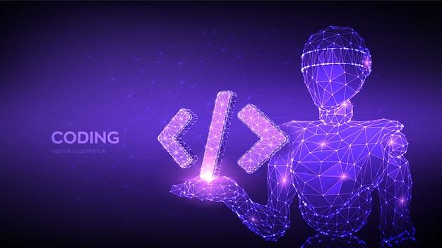 Icona del codice di programmazione. robot astratto che tiene il simbolo del codice di programmazione in mano. sfondo di codifica.