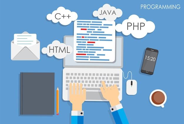 Programmazione codifica piatto concetto illustrazione vettoriale. eps10