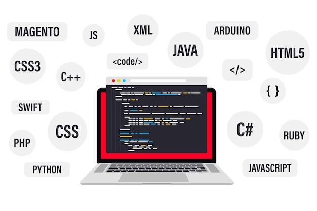 Programmazione e codifica su computer portatile. i migliori linguaggi di programmazione, banner web piatto. codifica, test, debug del software. sviluppo app, creazione. linguaggio di programmazione e codice del programma sullo schermo