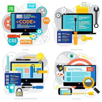 Programmazione e codifica, scripting e sviluppo di siti web e concetti di web design. banner orizzontali