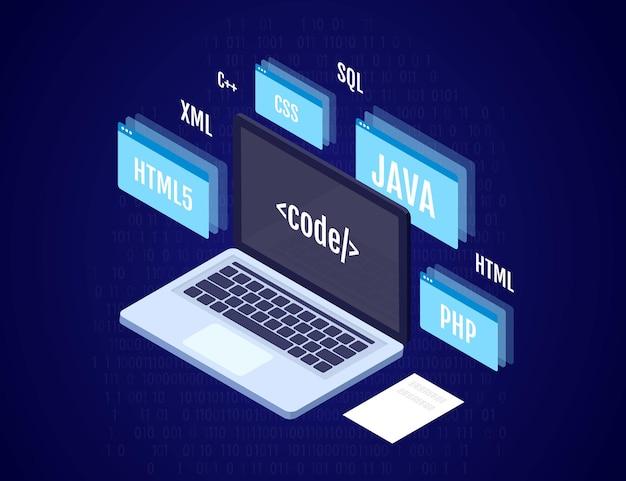 Codifica di programmazione e concetto di software illustrazione isometrica di vettore 3d