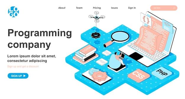 Concetto isometrico della società di programmazione nella progettazione 3d per la pagina di destinazione