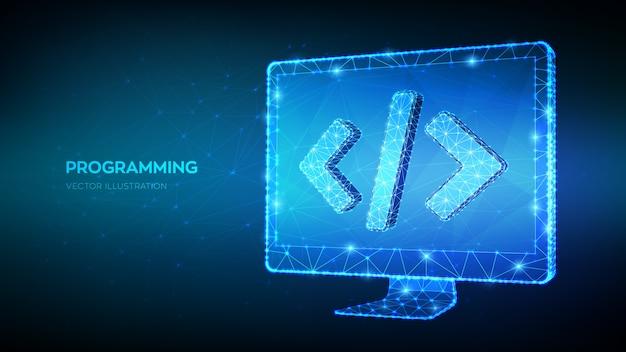 Concetto di programmazione. monitor del computer poligonale basso astratto con il simbolo del codice di programmazione. codifica o sfondo di hacker. sviluppo e concetto di software.
