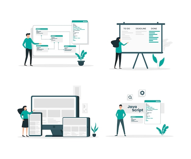 Set di illustrazione piatto di programmazione