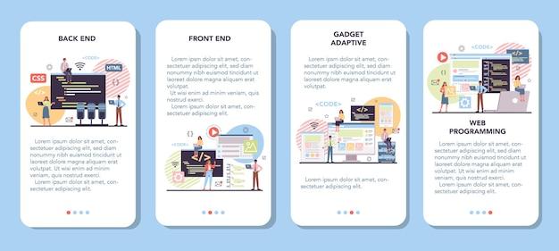 Set di banner per applicazioni mobili di programmazione