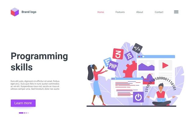 Pagina di destinazione delle abilità di programmazione