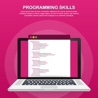Competenze di programmazione per sito web e modello di sito web mobile