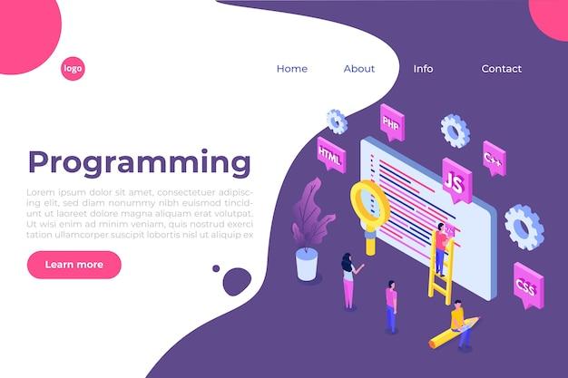 Software di programmazione o concetto isometrico di sviluppo di app, elaborazione di big data. illustrazione