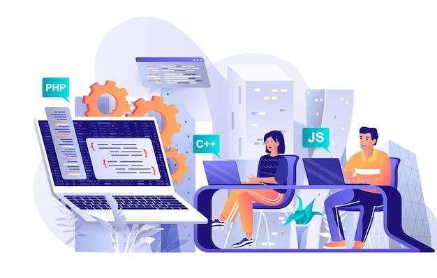 Illustrazione del concetto di design piatto del software di programmazione dei personaggi delle persone