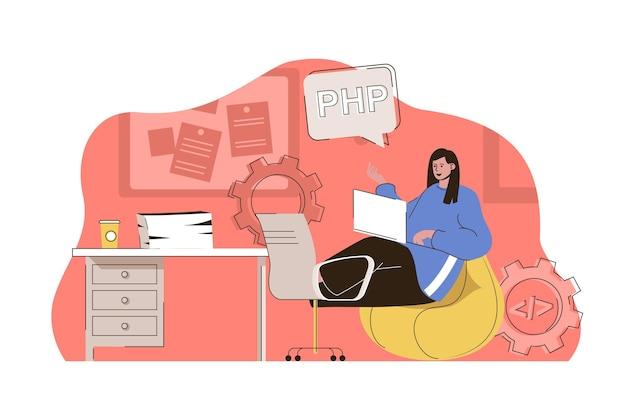 Strumenti di programmazione concetto donna lavora in diversi linguaggi di programmazione