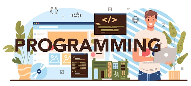Programmazione intestazione tipografica. educazione it, gli studenti scrivono software e creano codice per computer. script di codifica per progetto web e app. illustrazione vettoriale.