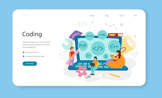 Programmazione banner web o landing page. istruzione it, studente che scrive un software e un'applicazione di codifica. sviluppo della tecnologia digitale per l'interfaccia del sito web. illustrazione piana di vettore.