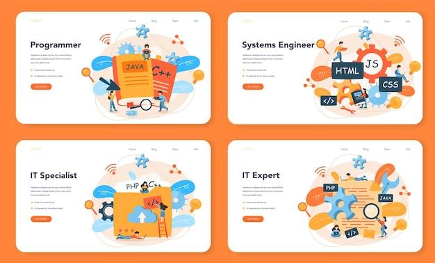 Programmazione del layout web o set di pagine di destinazione. idea di lavorare al computer, codificare, testare e scrivere un programma. sviluppo del sito web .