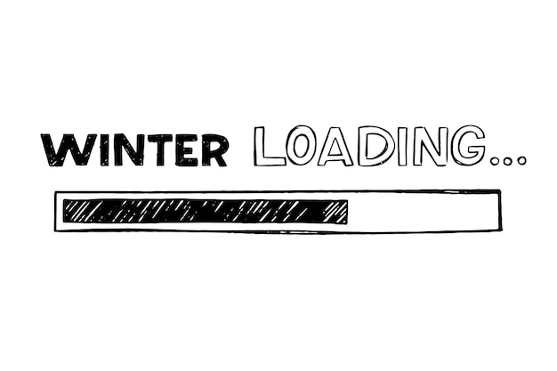 Barra di avanzamento in stile schizzo scarabocchio. immagine dell'icona di caricamento invernale. illustrazione vettoriale disegnato a mano.