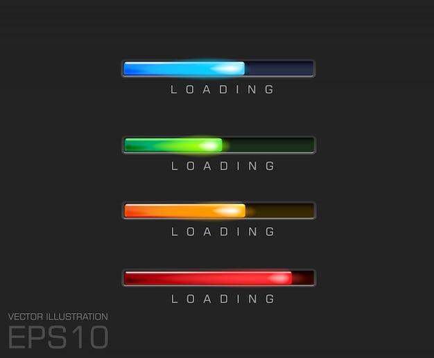 Barra di avanzamento e caricamento di diversi colori su file di sfondo nero.