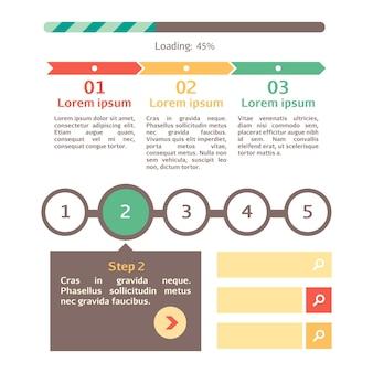 La barra di avanzamento imposta il download del processo dell'indicatore web del vettore della barra di stato di caricamento passo dopo passo