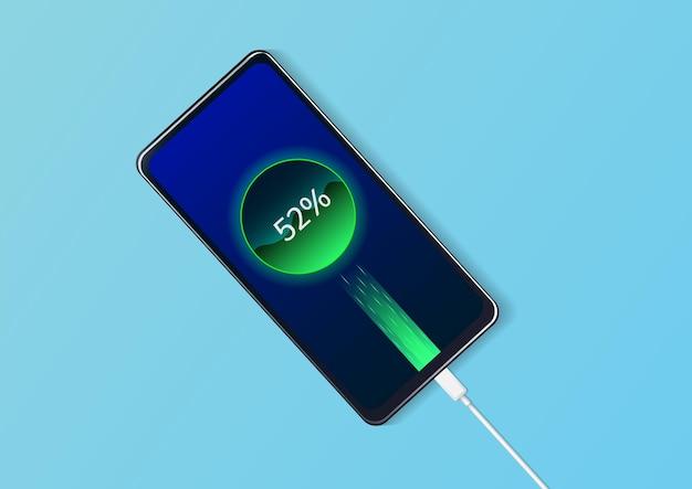 L'avanzamento della ricarica della batteria della vista dall'alto del telefono.