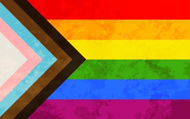 Bandiera dell'orgoglio di progresso con texture grunge, segno della comunità lgbt