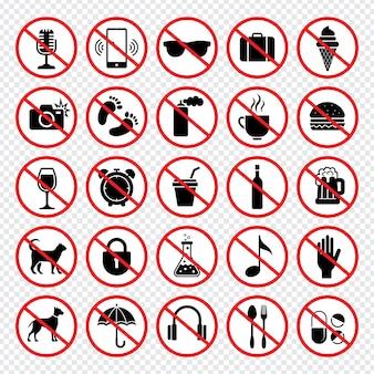Segnali di divieto. vietato mangiare pistole animali telefoni cellulari mangiare bambino nessuna raccolta di segni vettoriali. illustrazione vietata e pericolo, divieto di telecamere
