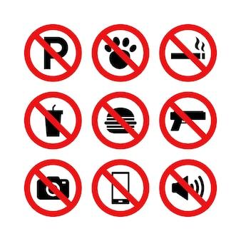 Insieme di vettore del segno di divieto e restrizione