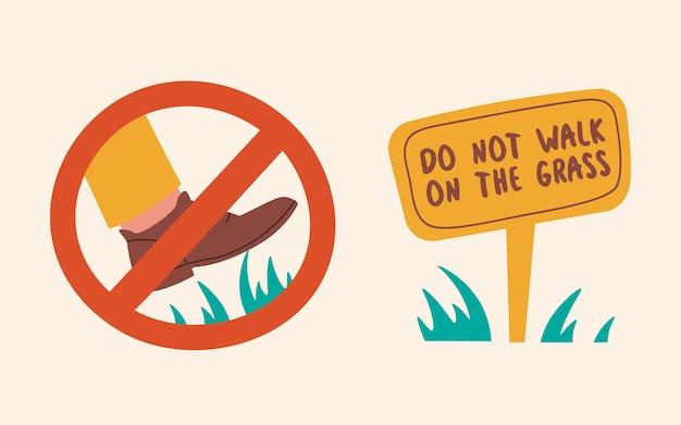 Segnale di divieto non camminare sull'erba simpatiche illustrazioni per le regole