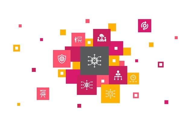 Le fasi di finanziamento del progetto progettano icone di contributo per la raccolta fondi di finanziamento di crowdfunding